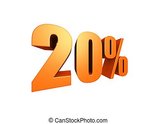 20 % - 3d rendered illustration of a golden number