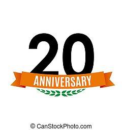 20, achtergrond, jubileum, illustratie, jaren, vector, mal, lint