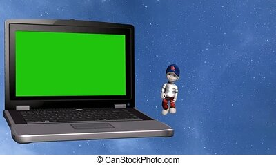 """3d Animation of small cartoon estate agent boy, selling houses with the aid of a laptop computer, there is a green insert on the computer screen for adding own information and animation of """"Finding Dream House"""" moving text."""