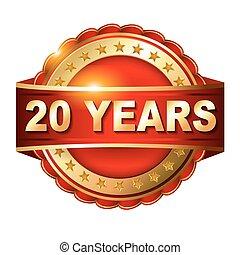 20 anni, anniversario, dorato, etichetta, con, nastro