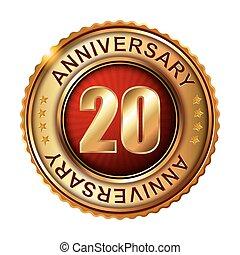 20 anni, anniversario, dorato, label.