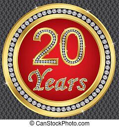 20 anni, anniversario, felice, birthda