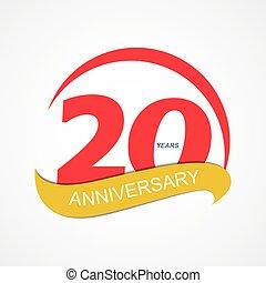 20, anniversario, illustrazione, vettore, sagoma, logotipo