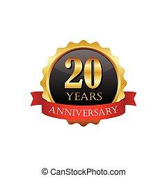 20 anos, aniversário, dourado, etiqueta, com, fitas
