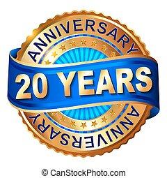 20 anos, aniversário, dourado, etiqueta, com, ribbon.