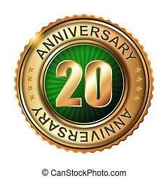 20 anos, aniversário, dourado, label.