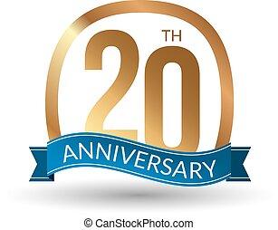 20 anos, aniversário, experiência, ouro, etiqueta, vetorial, ilustração