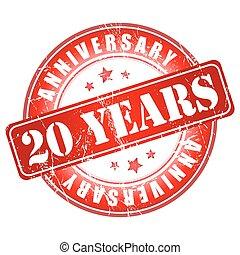 20 anos, aniversário, stamp.