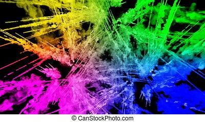 20, arc-en-ciel, tout, lent, trails., fond, peintures, feux artifice, motion., juteux, isolé, couleurs, air, noir, poudre, ink., explosion, créatif, coloré, ou, gentil