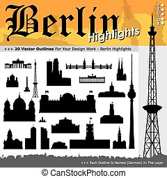 20 Berlin Highlights - Black Silhouettes with Real Size Proportions
