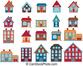 20 cute top buildings, vector