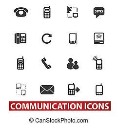 20, comunicación, señales, iconos, conjunto, vector