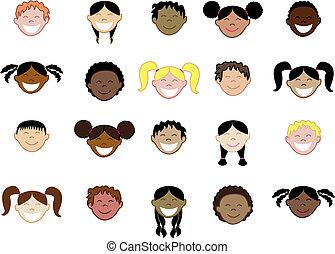 20, crianças, rostos 2