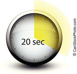 20, cronometro, tempo, web, secondi, icona, expiring