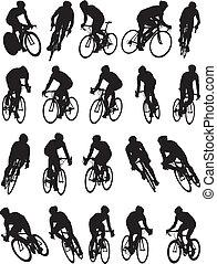 20, detail, rennende fiets, silhouette