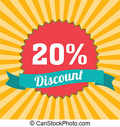 20% discount label on special yellow lines background