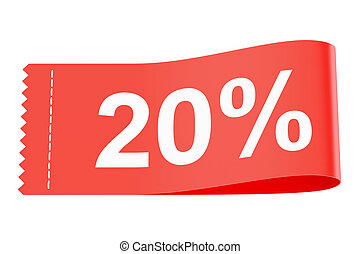 20% discount red clothing label, 3D rendering