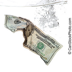 20 Dollar banknote in water