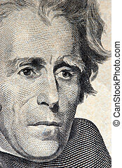 20 dollar bill andrew jackson macro - macro portrait of...