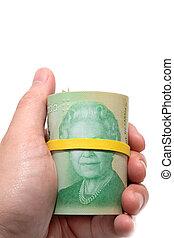 20, dollari canadesi, titolo portafoglio mano, rotolo