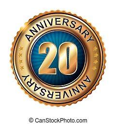 20, dorato, anniversario, label., anni