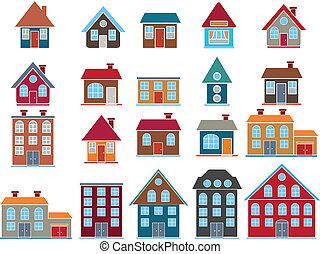 20, edificios., vector