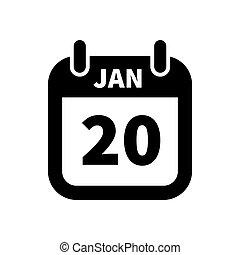 20, eenvoudig, januari, vrijstaand, black , datum, kalender, witte , pictogram