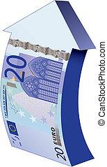 bank-note as an upward arrow