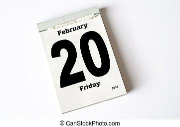 20. February 2015 - calendar sheet 20 February 2015