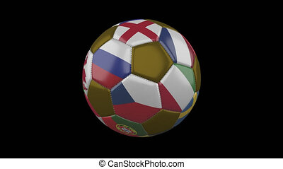 20 Flags of Euro on soccer ball rotating on transparent background, alpha loop