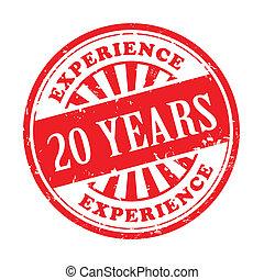 20, francobollo, esperienza, anni, gomma, grunge