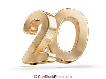 20 golden 3d-illustration isolated on white