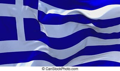 20. Greece Flag Waving in Wind Continuous Seamless Loop Background.