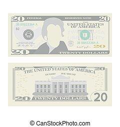 20, illustration., banknot, dwadzieścia, pieniądze, dolary, halabarda, currency., gotówka, na, dwa, symbol, amerykanka, vector., odizolowany, rysunek, boki