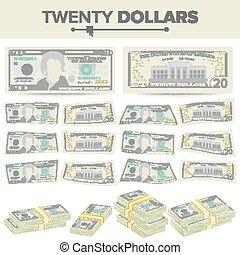 20, illustration., banknot, dwadzieścia, pieniądze, dolary, halabarda, currency., gotówka, na, dwa, symbol, stogi, amerykanka, vector., odizolowany, rysunek, boki