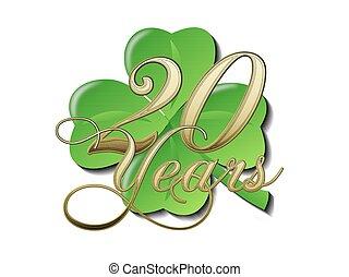 20, Jahre, Goldenes, Jubil?um, Kleeblatt - 20, goldenes,...