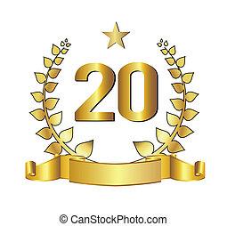 20 jahre, jubiläum, goldenes, etikett