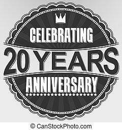 20, jubiläum, abbildung, jahre, feiern, vektor, etikett, retro