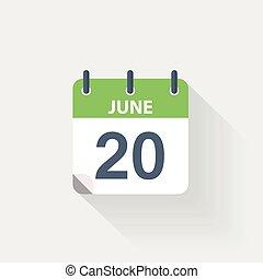 20, kalender, juni, pictogram