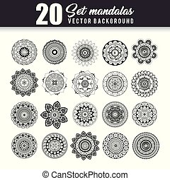 20 mandalas monochrome boho style set