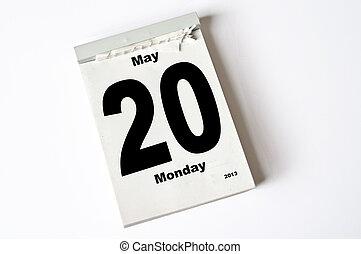 20. May 2013 - calendar sheet