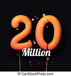20 million sign yellow balloons with threads on black ...