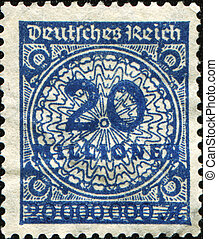 GERMANY - CIRCA 1932: A stamp printed in the Federal Republic of Germany shows image of hyper inflated numbers, series, circa 1932