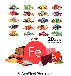 "20 minerals - ""20 minerals for human health"" series. Natural..."