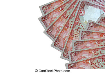 20 Nepalese rupees bills lies isolated on white background with copy space. Rich life conceptual background. Big amount of national currency wealth