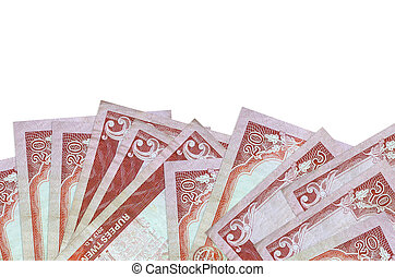 20 Nepalese rupees bills lies on bottom side of screen isolated on white background with copy space. Background banner template for business concepts with money
