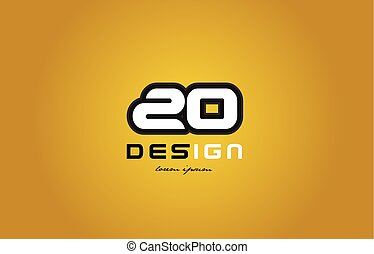 20 number numeral digit white on yellow background