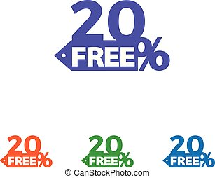 20% off banner design. Sale and discount tag with 20 percent price off icon. Vector illustration.