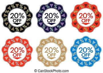 20% Off Discount Sticker. Set of Banner Design with 20% off