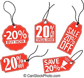 20% off tag set, vector illustration